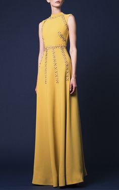 Silk Crepe Perforated Embellished Dress by Hussein | Moda Operandi