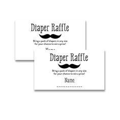 Baby Shower Black White Little Man Mustache - Insert Diaper Raffle Ticket - Instant Download Printable