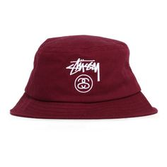 Stussy Stock Lock Spring '15 Bucket Hat Burgundy ($32) ❤ liked on Polyvore featuring accessories, hats, fisherman hat, stussy hat, cotton hat, fishing hats and stussy
