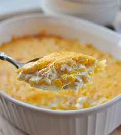 Creamy Cheesy Corn Casserole – decadent with cream cheese and cheddar