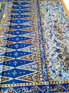 2 Yards Malaysian Batik Fabric Blue Floral Textile Sarong Lightweight Cotton