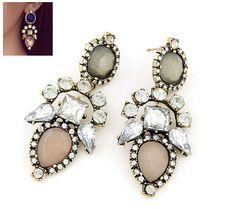 Hot New Fashion Luxury Crystal Resin Flower Long Statement Dangle Earring Stud #Handmade #DropDangle