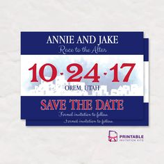 FREE PDF Race Bib Save the Date Invitation with editable texts - Free to download, easy to edit and professional finish.