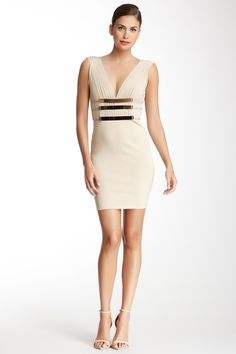 V-Neck Metal Accent Luxe Bandage Dress