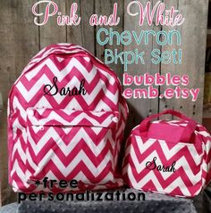 PInk and White Monogrammed Backpack and Lunch Box Set Free Personalization by bubblesemb on Etsy