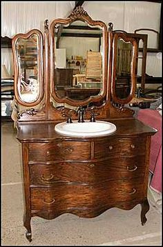 Photo of Front View - Antique Bathroom Vanity: Triple Mirrored Antique Dresser for Bathroom Vanity