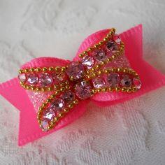 pink crystal ritzy dog bow $18.00  #AllAboutYoshi #BitchNewYork #DogHairBow #dogs