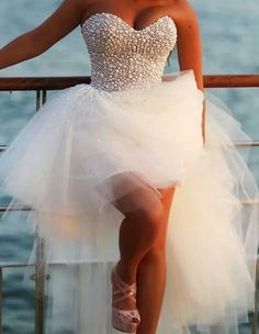 Custom Made Ivory Sweetheart High Low Prom Dress