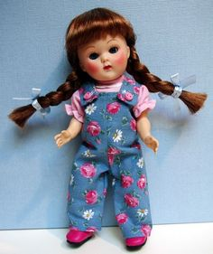 """Ginny in ~PeTaLs FRoM My HeaRT~ A special hand designed jumpsuit with coordinating pink shirt for your Vogue Ginny doll, Muffie, Ginger, or Madame Alexander 7.5-8"""" doll. Adorable and only at my Ebay store now. 2 PC set."""