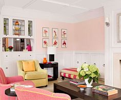 This pink room is sweet without being sticky! More colorful options: http://www.bhg.com/decorating/color/colors/best-color/?socsrc=bhgpin022114toneitdown&page=19