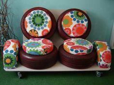 DIY Möbel vorne bezug blumen Autoreifen autoreifen recycling