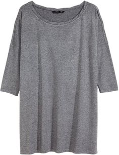 a08b8c99ff263b H amp M Oversized Jersey Top - Gray melange - Ladies on shopstyle.com  Neckline