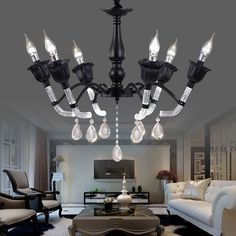Modern Light Led Crystal Candle Chandelier Living Room Kitchen Lamp Black Iron Bubble Acrylic Fashion Home Fixture E14 220V >>> Find out @ http://performance.affiliaxe.com/aff_c?offer_id=11422