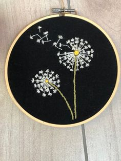 Hand Embroidered Dandelion Hoop Art,What is embroidery ? In general, embroidery is a special means of textile control, where service materials such as for example cloth or leather are fu. Hand Embroidery Patterns Flowers, Hand Embroidery Art, Machine Embroidery Patterns, Embroidery Ideas, Simple Embroidery Designs, Hand Embroidery Projects, Embroidered Flowers, Embroidery Letters, Embroidery Hoops