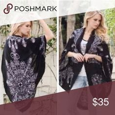Boho Kimono Cocoon Shawl Cardigan Great black henna print kimono shawl cardigan with raw edges . One size fits most will fit small through XXL . Great layering piece light weight closet essential perfect for traveling too . Available in blue / Ivory and mocha / black . Nwot Vivacouture Accessories Scarves & Wraps