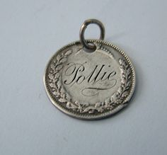 Edwardian Silver Love Token Silver Threepence Coin Fob Charm Engraved Pollie
