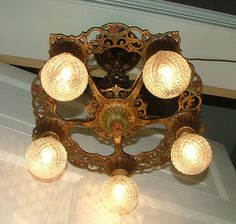 Vintage Lighting Fixture REWIRED Antique Hanging Art Deco Ceiling Light Spanish Revival Nouveau Lamp