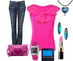 I love this mix of fuchsia and bright blue. Not those jeans for me, though. Maybe a straight black skirt instead.