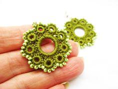 Hand Crochet Beaded Flower Earrings an Olive by accessoriesbynez