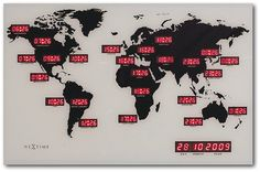 Nextime 2897 World Time Digit Mappamondo con Fusi Orari da Parete [Importato da Unione Europea e Regno Unito]