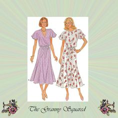 80s Dress with Flared Skirt Flutter Sleeves & by TheGrannySquared