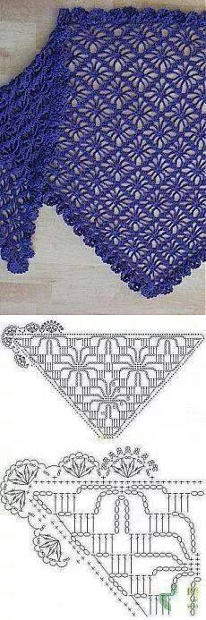 Cloth spider pattern with decorative edge Crochet stitches, crochet shawl, crochet scarves Cloth spider pattern with decorative edge Source by Filet Crochet, Poncho Au Crochet, Crochet Diy, Crochet Motifs, Crochet Shawls And Wraps, Crochet Diagram, Crochet Stitches Patterns, Crochet Chart, Crochet Scarves