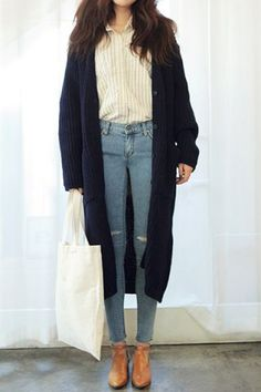 Stylish Long Sleeves Solid Color Pockets Long Cardigan For Women Sweaters & Cardigans | RoseGal.com