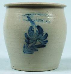 """Sold For $ 200       Cowden & Wilcox, Harrisburg, Pa., Stoneware Crock with cobalt floral design, 8-1/4""""h. Condition: Good."""