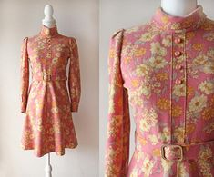 Japanese Vintage Dress / Vintage 1960's Dress / Pink and Yellow Floral Long Sleeve Wool Mini Dress