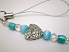 Silver Heart Cell Phone Charm in Blues by justByou on Etsy, $4.00