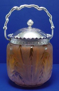 MT WASHINGTON FERN ETCHED BISCUIT JAR:  Etched glass in a blush of amberina