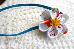 Stars on white kanzashi flower headband / hair clip by ImwtheBand