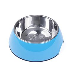 SUPER DESIGN Classic Removable Stainless Steel Bowl in High Gloss Anti-Skid Round Melamine Stand,for Dog or Cat S Blue  Dual Purpose - Remove the Stainless Steel Bowl to Make a Food and Water Bowl Set, Use the Raised Stand as an Extra Bowl  Rubber Bottom on Stand - Non-Skid  Rust Resistant Stainless Steel - Easy to Clean, Both Melamine Stand and Stainless Steel Bowl are Dishwasher Safe  Beautiful Colors - Choose the Color that Best Suits Your Pet  Dimensions - For dogs puppies and cats...