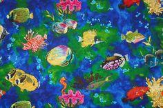 SALE 25% OFF Secrets of the Reef Fabric by Robert Kaufman Pattern D5074 Luana Rubin - 100 Percent Quality Cotton - $2.24 USD