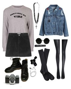 """""""Don't kill the vibe"""" by cantstopimaddicted ❤ liked on Polyvore featuring Topshop, Chanel, WithChic, Forever 21, Fogal and Xhilaration"""
