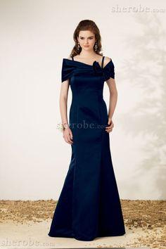 A-Line Kurze Ärmeln Porträt Ausschnitt Normale Taille Langes Legeres Abendkleid - Bild 1