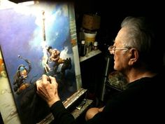 Frank Franzetta at work, and this was after his stroke and he had to use his other hand