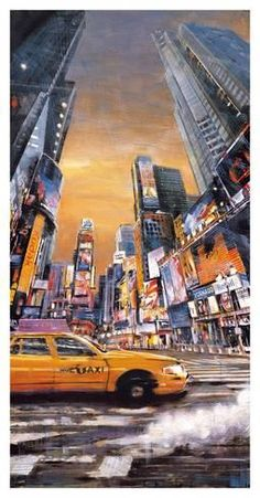 size: Stretched Canvas Print: Times Square Perspective I by Matthew Daniels : Using advanced technology, we print the image directly onto canvas, stretch it onto support bars, and finish it with hand-painted edges and a protective coating. New York Painting, City Painting, Painting Edges, Oil Painting Abstract, Times Square, New York Poster, Ascii Art, Foto Madrid, Abstract City