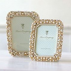 Timeless Crystal & Pearl Frame- favor and place card holder