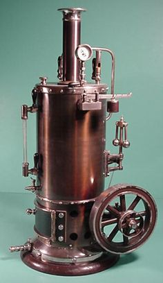 All original gas-burning Schoenner, circa tall; boiler diameter flywheel I believe this to be the largest vertical Schoenner made. Steam Motor, Homemade Still, Toy Steam Engine, Steam Toys, Stirling Engine, Steampunk Furniture, Steam Boiler, Steampunk Design, Gas Station