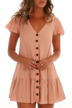 Lets Talk Dress Peach by sheree - Simple Dresses, Cute Dresses, Casual Dresses, Casual Outfits, Cute Outfits, Fashion Outfits, Fashion Fashion, Womens Fashion, Summer Outfits