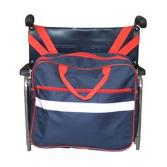 A practical shopping bag or holdall which attaches to the handles of the wheelchair, with an attractive red and blue design.