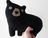 the black Bear -- small wool plush pillow