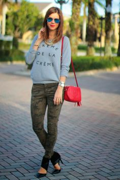 Blue ray bans mirrored sunnies, camouflage jeans, creme de la creme sweater, gucci red disco bag, red lips, spiked Vince Camuto bracelet and doubled up necklaces. {Creme de la Creme} | A Fancy Affair
