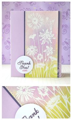 Hero Arts Wildflower Garden stamp; embossed in white and then background colored with distress ink sponging.