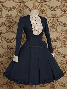 A-Line Ruffled Long Sleeves Cotton lolita dress (Lolita261)01
