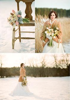 winter bouquets and winter wedding day look
