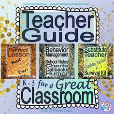 The Teacher Guide for a Great Classroom will help you to be CALM and CONFIDENT in your classroom?with teacher scripts, lessons, posters, printables, tips, behavior management resources and materials you will use all year.  Bonus: Behavior Management Math counting songs for calming kids and Rap Your Math MP3 for energizing kids.