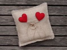 Craft Ideas for Rustic Wedding Wedding Ring Cushion, Wedding Ring Box, Diy Wedding, Rustic Wedding, Wedding Gifts, Ring Bearer Pillows, Ring Pillows, Xmas Cross Stitch, Cross Stitch Fabric