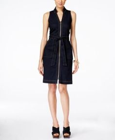 INC International Concepts Petite Belted Denim Dress, Only at Macy's. Potentially too fittedm like the neckline and no pockets at the bust
